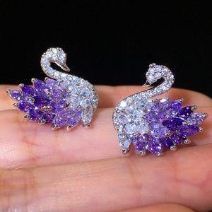 Jewelry - STUNNING Swan faux 925 Silver earrings_Purple